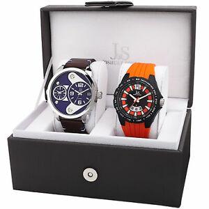 【送料無料】腕時計 ジョシュアメンズレザーデュアルタイムホイールストラップウォッチポイントjoshua amp; sons jx130ors men's leather dual timedate wheel strap watch set