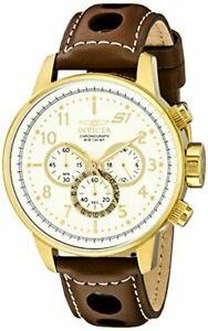 【送料無料】腕時計 #ラリー#;kゴールドブラウンレザーストラップinvicta mens s1 034;rally034; 18k gold ionplated watch w brown leather strap