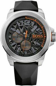 【送料無料】腕時計 ヒューゴボスオレンジメンズニューヨークブラックラバーストラップウォッチ