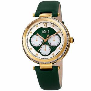 【送料無料】腕時計 バールクリスタルゴールドトーングリーンレザーストラップウォッチwomens burgi bur182gn multifunction crystal gold tone green leather strap watch