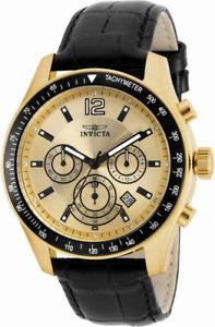 【送料無料】腕時計 メンズラウンドクロノグラフゴールドトーンクリアストーンウォッチinvicta specialty 17770 mens round chronograph date gold tone clear stone watch