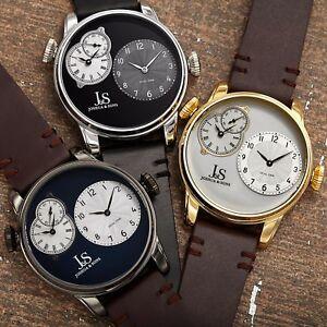 【送料無料】腕時計 #ジョシュアクオーツデュアルタイムレザーストラップウォッチmen039;s joshua amp; sons quartz multifunction dual time stiched leather strap watch