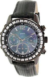 【送料無料】腕時計 スワロフスキークリスタルクロノグラフブラッククロノグラフウォッチドル