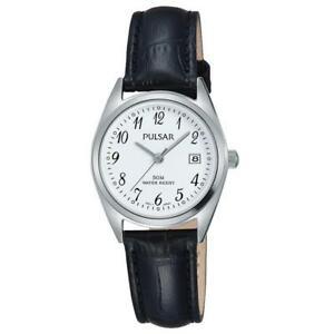 【送料無料】腕時計 パルサーレディースブラックレザーストラップウォッチ