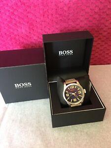 【送料無料】腕時計 メンズヒューゴボスオレンジシルバーダークベージュレザークオーツウォッチnib hugo boss mens orange silver dark beige leather quartz watch 1513352