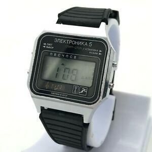 【送料無料】腕時計 エレクトロニカヴィンテージアラームメロディクロノグラフソビエトelektronika 5 vintage alarm melody chronograph date original wristwatch ussr