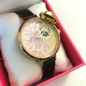 【送料無料】腕時計 ジョンソンブラックレザーゴールドトーンボックス