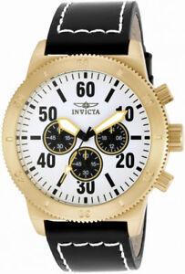 【送料無料】腕時計 メンズクロノグラフレザーラウンドホワイトアナログウォッチinvicta specialty 16756 mens round white analog chronograph leather watch