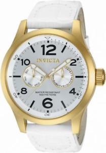 【送料無料】腕時計 メンズラウンドアナログホワイトレザーウォッチinvicta specialty 12174 mens round analog day date white leather watch