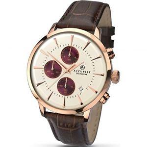 【送料無料】腕時計 メンズクロノグラフブラウンレザーストラップ¥accurist mens chronograph brown leather strap watch 7034 rrp 115