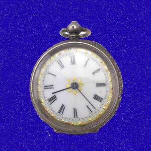 【送料無料】腕時計 ヴィクトリアンシルバーエナメルスイスネックペンダントフォブ