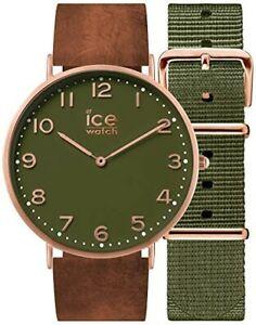 【送料無料】腕時計 シティブラウンレザーグリーンナイロンストラップウォッチウォッチice watch gents ice city watch with brown leathergreen nylon straps   001363