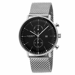 【送料無料】腕時計 メンズスイスクオーツステンレスメッシュウォッチmens akribos xxiv ak685ssb swiss quartz daymonth stainless steel mesh watch