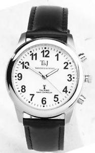 【送料無料】腕時計 ストラップ tamp;j radio controlled atomic talking speaking watch, genuine leather strap