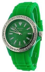 【送料無料】腕時計 ファーレンハイトアナログレディースベゼルグリーンシリコンストラップセットウォッチfahrenheit analogue ladies girls stone set bezel green silicone strap watch