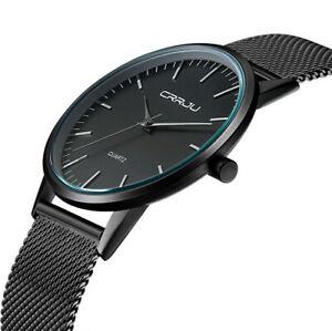 【送料無料】腕時計 メンズステンレススチールアナログクォーツストラップスポーツウォッチluxury ultra thin mens stainless steel strap sports analog quartz wrist watch