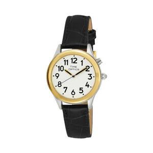 【送料無料】腕時計 ロービジョンアラームブラックゴールドレザー