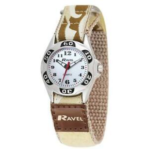 【送料無料】腕時計 ラヴェルベージュアーミーカムフラージュファブリックストラップウォッチravel boys beige army camouflage fabric easy fasten strap watch r150708