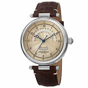 【送料無料】腕時計 シルバートーンレトログラードレザーウォッチmens akribos xxiv ak795ssbr silvertone quartz retrograde date leather watch
