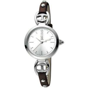 【送料無料】腕時計 キャバリロゴベラペレシルバースリムorologio donna just cavalli logo jc1l009l0115 vera pelle marrone silver slim