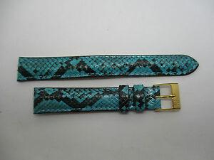 【送料無料】腕時計 ブレスレットターコイズウエストbracelet montre en python veritable de couleur turquoise et noir taille 14 mm
