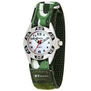 【送料無料】腕時計 カムフラージュファブリックストラップウォッチラヴェルravel boys green army camouflage fabric easy fasten strap watch r150705a