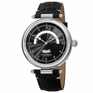 【送料無料】腕時計 シルバートーンレトログラードレザーウォッチ mens akribos xxiv ak795ssb silvertone quartz retrograde date leather watch