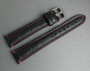 【送料無料】腕時計 ミリブラックビンテージステッチレザーウォッチストラップ
