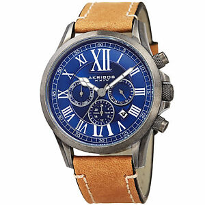 腕時計 men039;s akribos xxiv ak897ssbu dual time zone leather with stitching watch