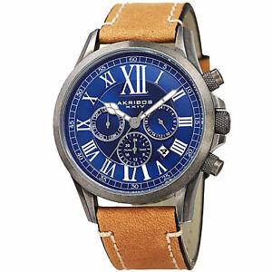 送料無料 スーパーセール 腕時計 men039;s akribos xxiv ak897ssbu dual with time watch zone 爆買い新作 leather stitching