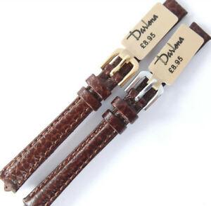 【送料無料】腕時計 ダークブラウンレザーストラップミリゴールド10mm darlena 1003 dark brown grained leather watch strap choose gold or silver