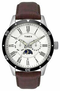 【送料無料】腕時計 メンズアナログスチールブラウンレザーウォッチストラップtimex tw2r57100 mens multifunction analog steel watch brown leather strap