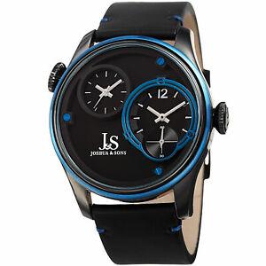 【送料無料】腕時計 メンズジョシュアタイムゾーンスモールセコンドレザーストラップウォッチmens joshua amp; sons jx118bkbu two time zones small seconds leather strap watch