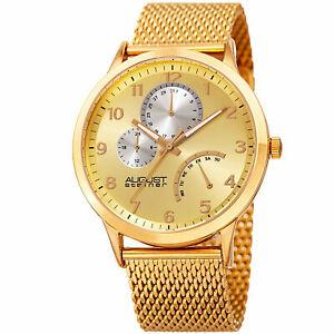 腕時計 シュタイナーインジケータースチールメッシュブレスレットmens august steiner as8230yg 24 hour indicator date steel mesh bracelet watch