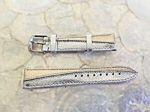 【送料無料】腕時計 ミケーレゴールドシルバーレザーウォッチストラップ michele 18mm gold silver festive holiday leather watch strap