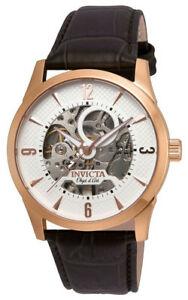 【送料無料】腕時計 オブジェメンズラウンドホワイトブラウンレザーウォッチinvicta objet d art 22637 mens round white automatic brown leather watch