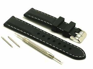 【送料無料】腕時計 ホワイトステッチウォッチスプリングバーリムーバーツールブラックラバーストラップ
