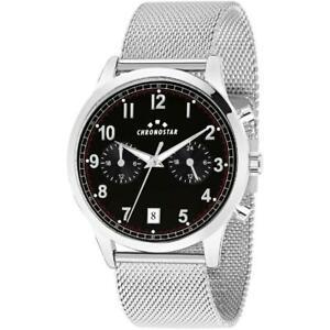 腕時計 クロノスターメッシュorologio uomo chronostar romeow r3753269001 bracciale acciaio nero mesh