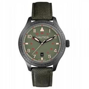 【送料無料】腕時計 バードサブメートルorologio uomo nautica bfd 105 a11108g pelle verde militare nero sub 100mt