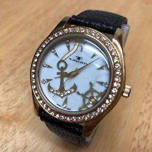 【送料無料】腕時計 アナログクォーツゴールドトーンラインストーンバッテリーtauan men gold tone rhinestone mop leather analog quartz watch hours~ battery