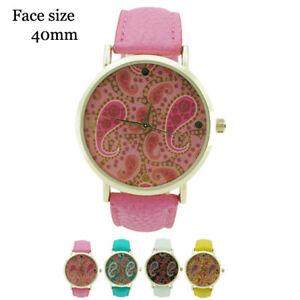 【送料無料】腕時計 ジュネーブペイズリープリントレザーウォッチgeneva paisley print leather watch 40mm