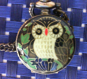 【送料無料】腕時計 ミニポケットウォッチアンティークモザイクイヤリングフクロウペンダント