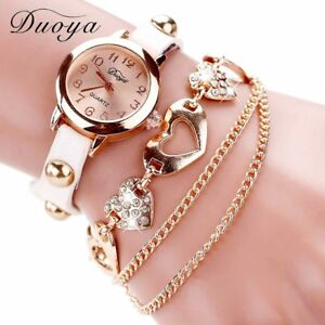 【送料無料】腕時計 ファッションローズゴールドハートレザーduoya fashion watches women luxury rose gold heart leather wristwatches ladi