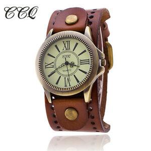 【送料無料】腕時計 ヴィンテージアンティークブレスレットccq luxury vintage roman leather bracelet watch women antique wristwatch cas