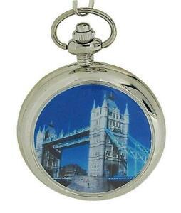 【送料無料】腕時計 ロンドンブリッジフロントカバーデザインシルバーストーンポケットウォッチ