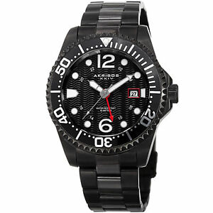 【送料無料】腕時計 メンズダイバーブラックステンレススチールウォッチ