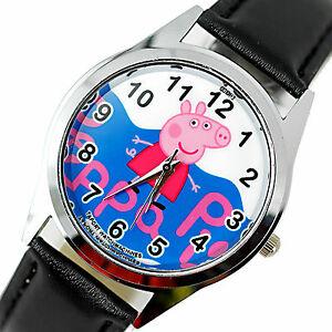 【送料無料】腕時計 ブタステンレススチールブラックレザーフィルムアニメーションテレビ