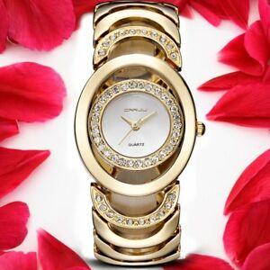 【送料無料】腕時計 ブランドゴールドブレスレットレディースファッションデザインウォッチcrrju luxury women watch brands gold fashion design bracelet watches ladies