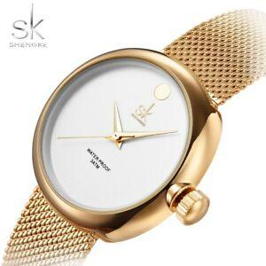 【送料無料】腕時計 skトップファッションレディーススチールメッシュストラップゴールドローズ