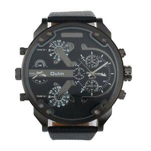 【送料無料】腕時計 サイズブレスレットノワールエクスgrosse montre 3 oulm 5cm, bracelet cuir noir boite et coussinet, neuve